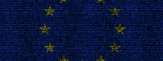 Europaflagge in einer Datenmatrix